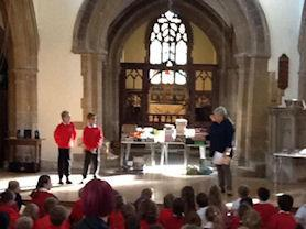 Performing a Harvest Bible story.