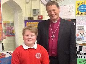 Meeting one of our boys who sings for him in the Leicester Cathedral Choir.