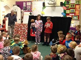 Whole school puppet assembly.