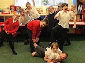 Rehearsing funny poses.