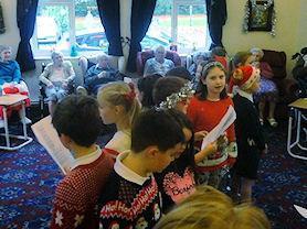 The residents enjoyed listening to the singing.