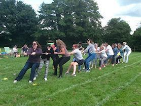 Our mums winning the tug-of-war.
