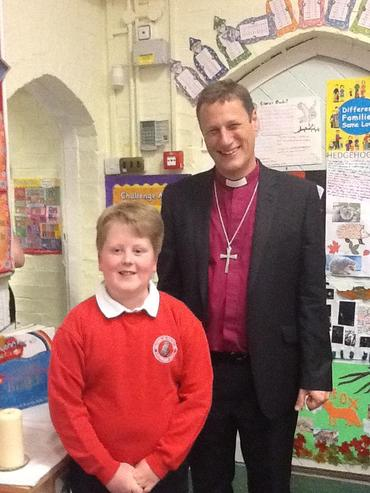 Saying hello to one of our pupils and Leicester Cathedral's choristers