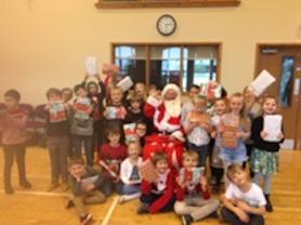 Oak Class meeting Santa.