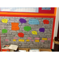 Our vocabulary wall for JATB.