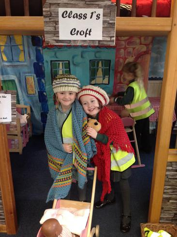 Wee lassies wrapped up in the Class 1 Croft.