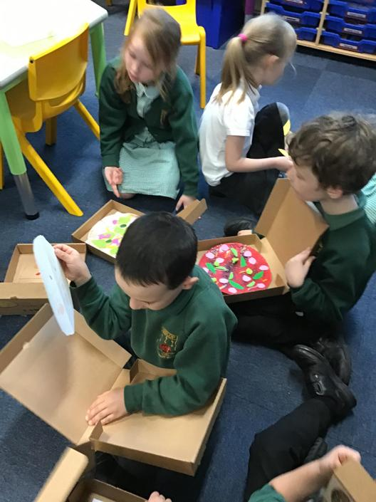 Reception shared their toppings onto half a pizza.