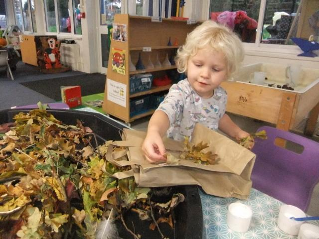 Making our Autumn leaf treasure bags