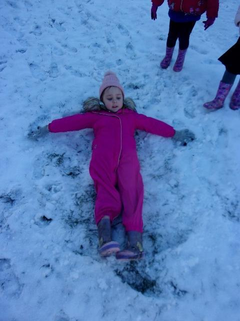 We made snow angels.