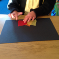 We made a fire using tissue paper.