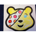 Then we placed different coloured stickers on his bandage.