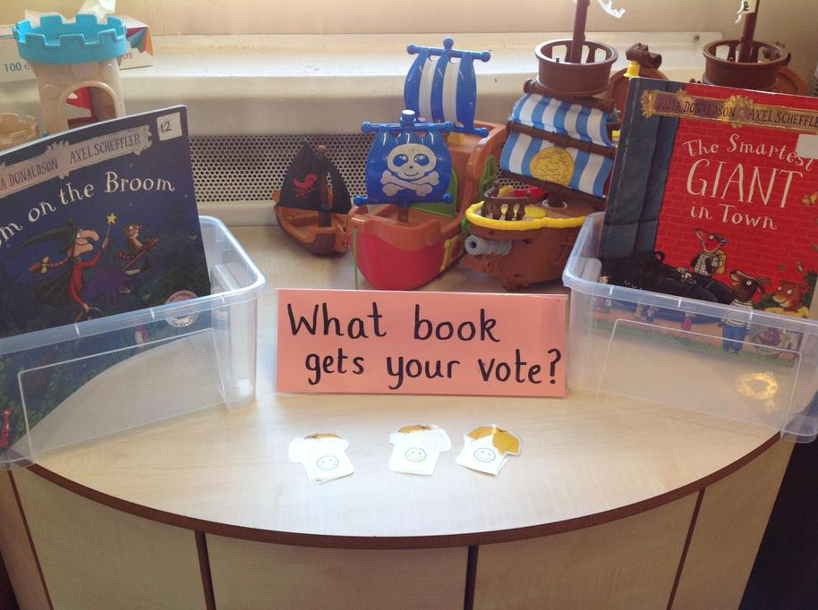 We vote for the book we want the teachers to read to us.
