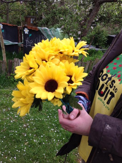 We hunted for flowers at the allotment today.