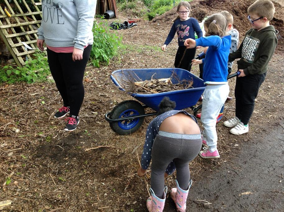 Lots of sticks needed for the bug hotel.