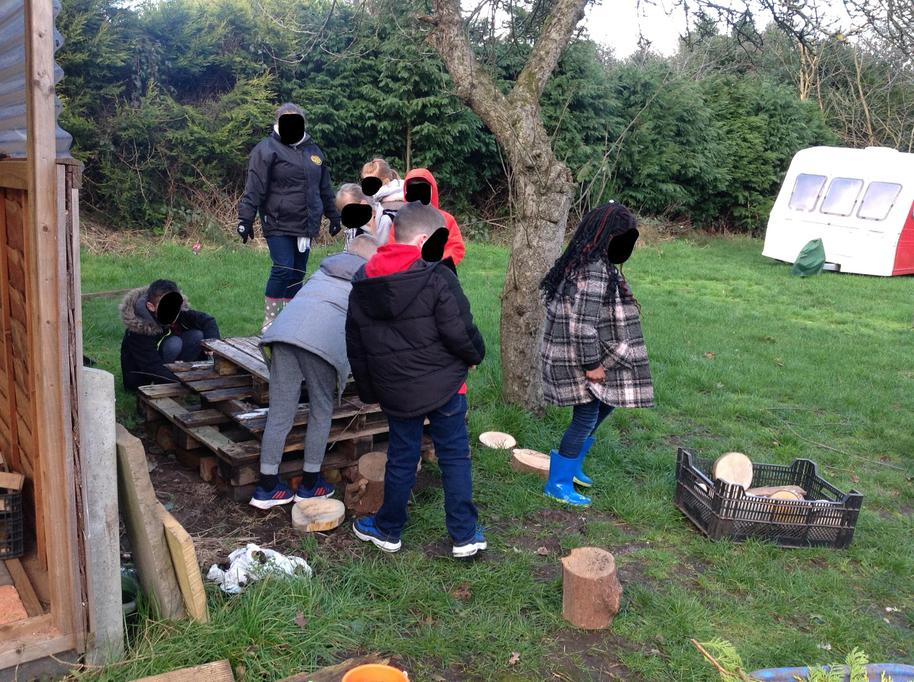 Constructing the bug hotel.