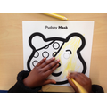 First we coloured Pudsey Bear yellow.