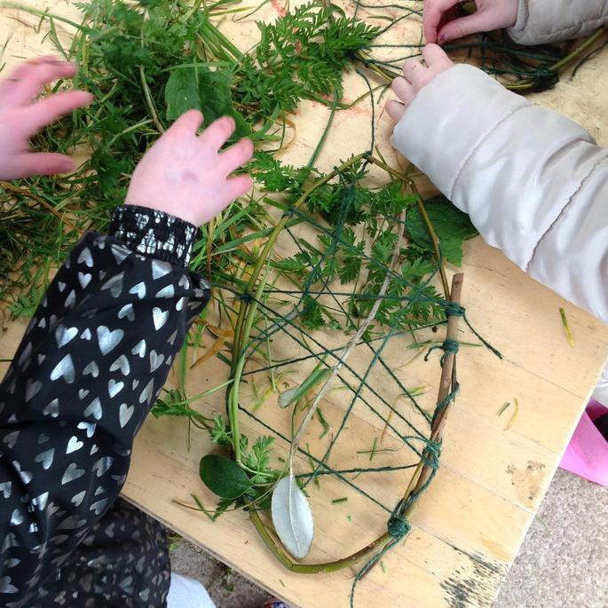 It was very tricky threading our dream catchers.