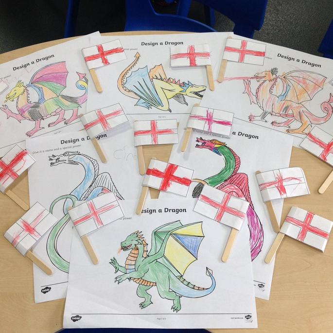 Reception have designed their own dragons and made English flags