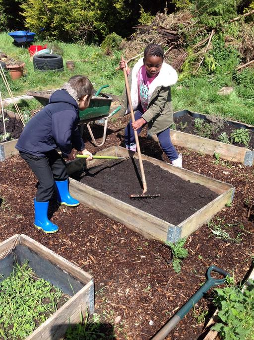 Flattening the soil.