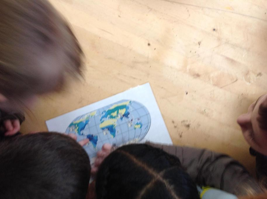We looked on a map to see different countries.