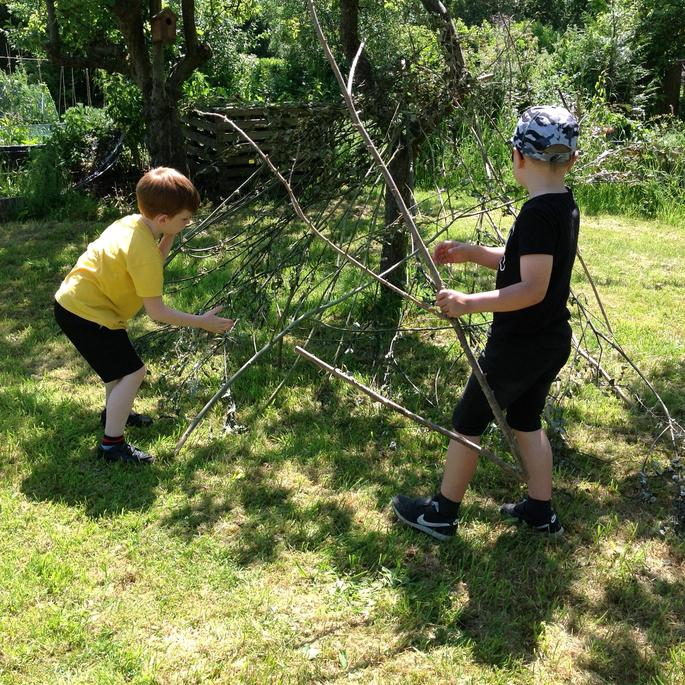 Making a shelter.
