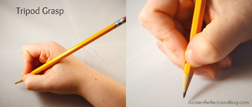 Encourage your child to hold their pencil like this - froggy fingers.