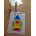 We made rockets using 2D shapes.