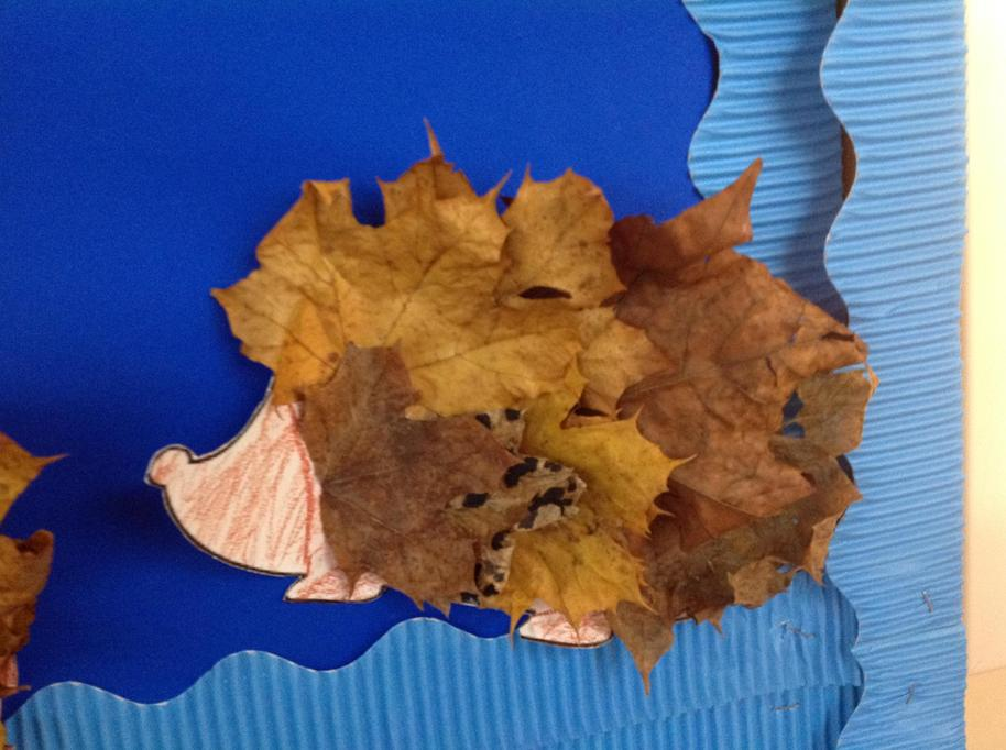 We then glued on the Autumn leaves.