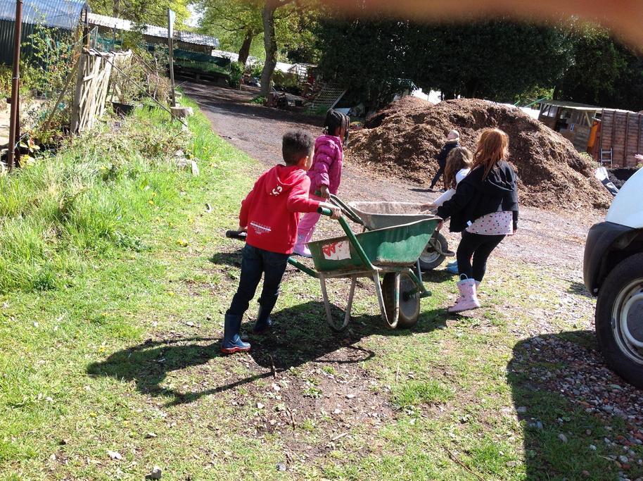 Pushing a wheelbarrow is hard work.