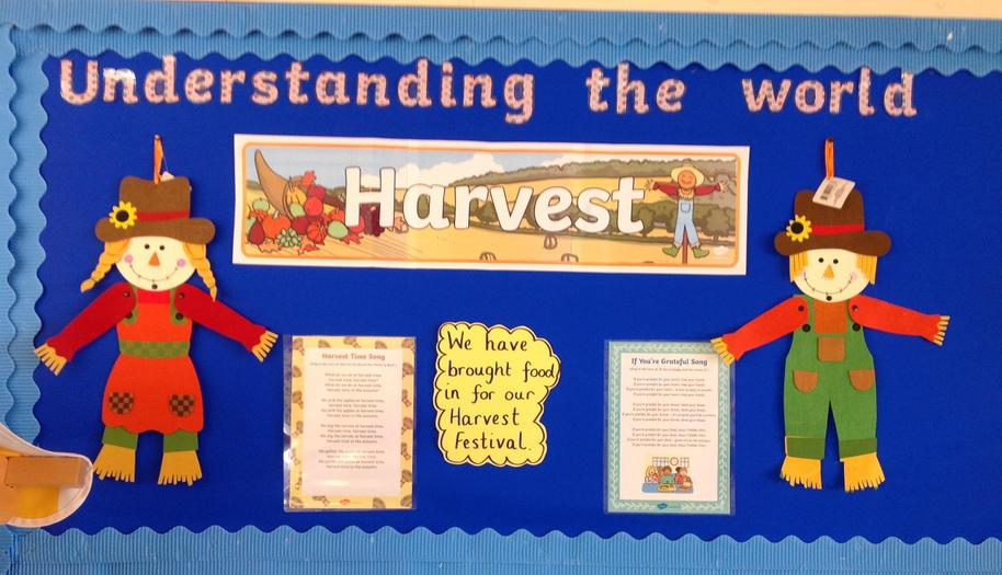 We sang a Harvest song and collected food for Birmingham City Mission.