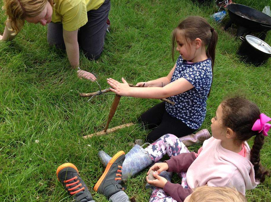 Claire brought a Bow Drill for us to have a go at using friction to make fire.