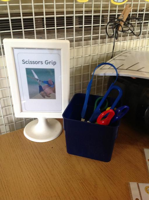 Mrs Jolley has been showing us how to use the scissors safely