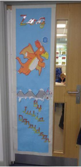Reception''s favourite book on their door!