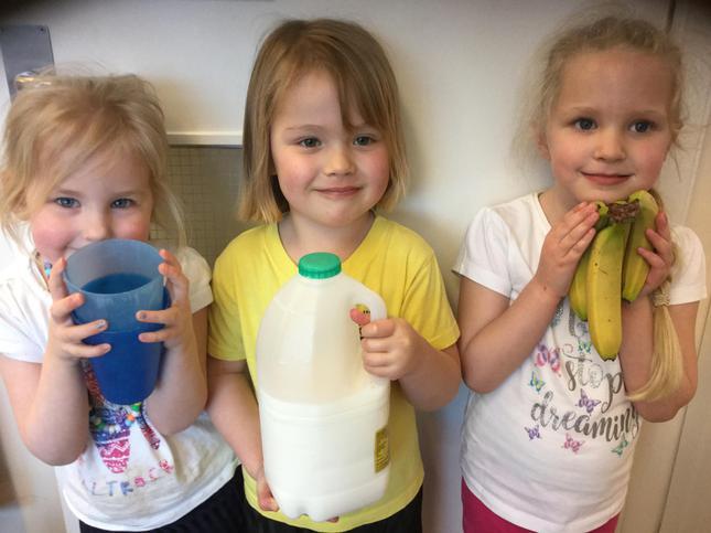 We watched the milkshake being made in the blender