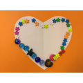The children decorated a heart for their card