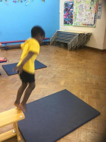 A safe jump with bent knees.