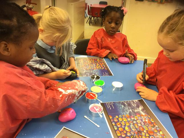 Every child in school painted a pebble