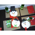 Snowmen with fluffy cotton wool, individual Christmas tree hangers and a Christmas card.
