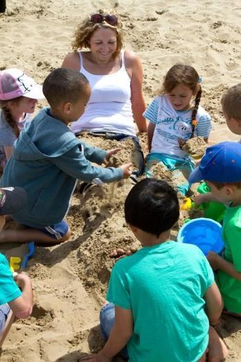 Having fun building sandcastles on Weston Beach