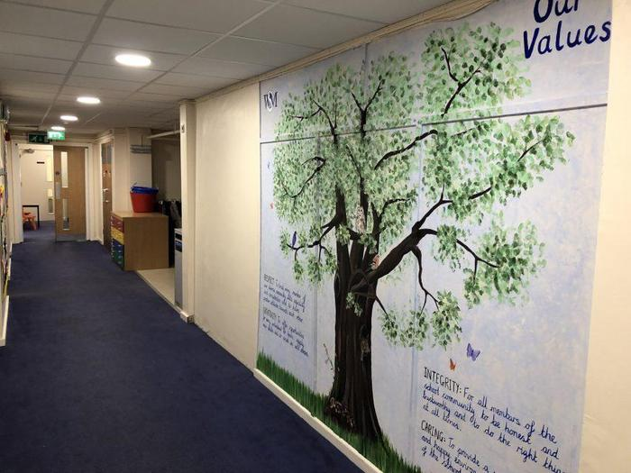 Values tree in our KS1 and EYFS corridor
