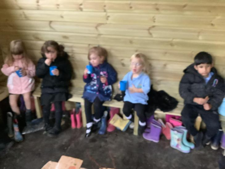 We took shelter in the welly shed