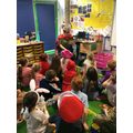 Mrs Evans shares a story with Beech class.
