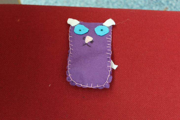 The first blanket stitch complete - Well done Adiy!