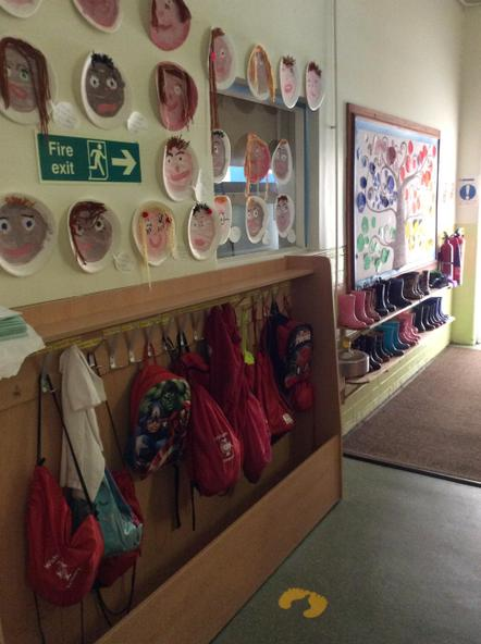 Coats, bags and hats are hung up here!