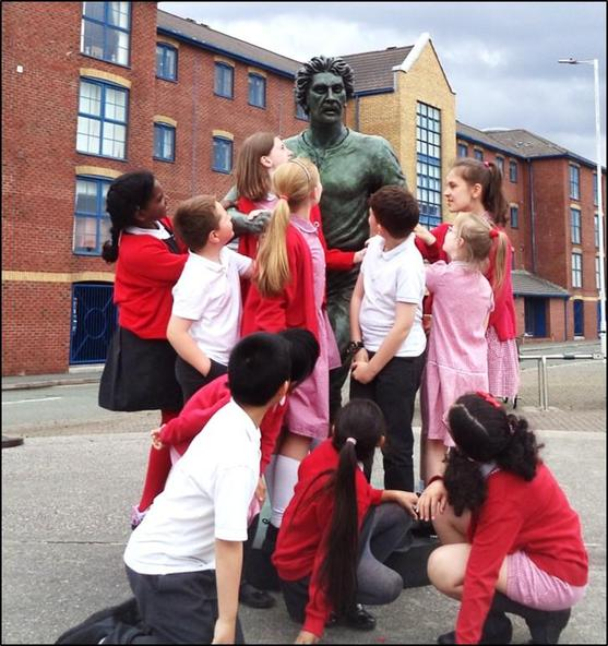 Unveiling of statue of local hero