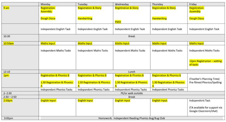 Reception Timetable