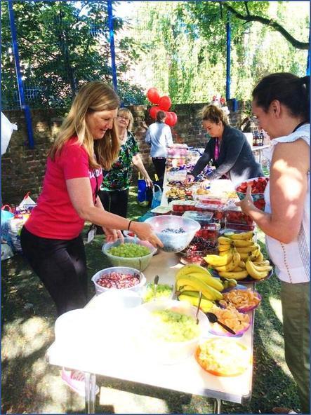 Sharing picnic food