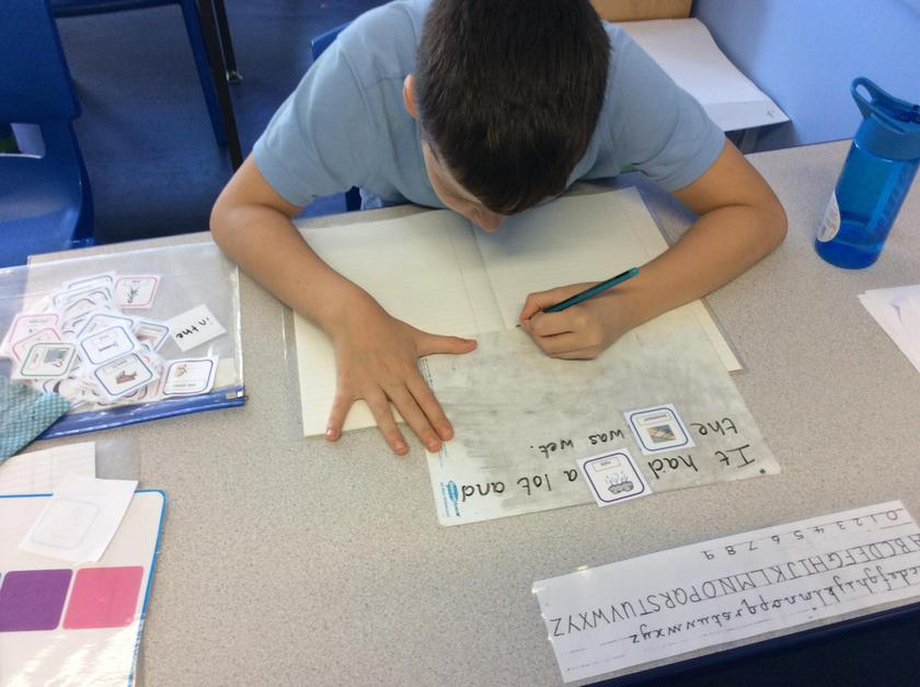 Harry uses his cards to create relevant sentences.