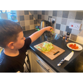 Busy making a healthy salad!