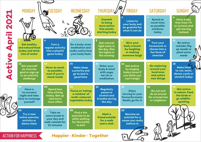 Active April Wellbeing Calender